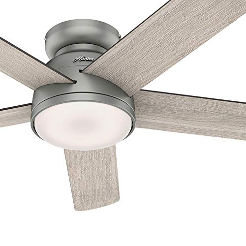 Hunter Fan 54 inch Low Profile Matte Silver Indoor Ceiling Fan with Light Kit and Remote Control (Renewed) (Ceiling Fan Light Kit Silver)