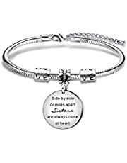 Sister Bracelets Women Jewelry Anniversary Best Friend Birthday Gift - Side by Side or Miles Apart Sister are Close at Heart