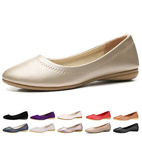 - CINAK Women Flats Shoes - Slip-on Ballet Comfort Walking Shoes for Women (9-9.5 B(M) US/ CN41 / 10'', Gold)