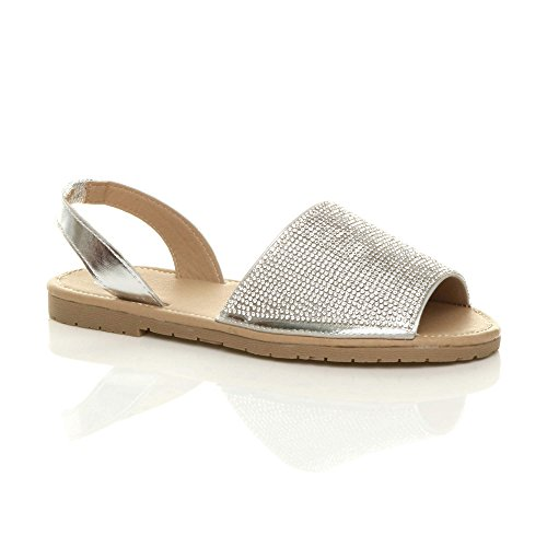 Ajvani Womens Ladies Flat Diamante Sparkly Holiday Beach Slingback Menorcan Sandals Silver hAmpzS