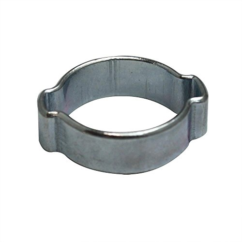 2 Clamps Steel Ear (Interstate Pneumatics H618 Double Ear Steel Hose Clamp zinc plated 15-18 mm (50))
