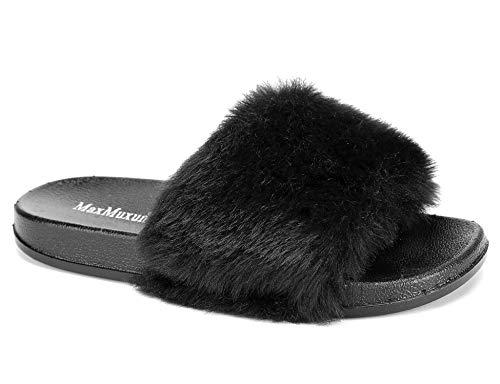 Faux 36 Femme Eu Noir2 Fourrure Maxmuxun Plats 41 Sandales Chaussures wF5qUx0RX