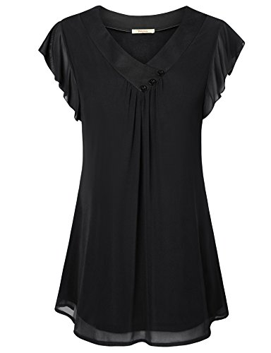 Bebonnie Tunic for Work, Woman's Petite Casual Scoop Neck Solid Short Sleeve Pleated Loose Fit Tunic Shirts Flowing Flare Double Layers Chiffon A Line Blouse Black S
