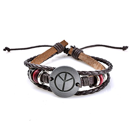 LUREME Unisex Peace Symbol PU Leather Adjustable Wristband Bracelet Bangles Jewelry (bl003190) -