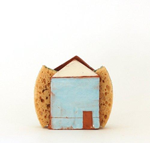 Blue Sponge Holder Napkin Holder Ceramic House by Vsocks Ceramics