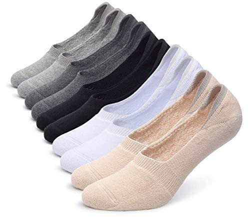 Pareberry Women's Thick Cushion Cotton Athletics Casual Low Cut Flat Non-Slip Boat Liner No Show Socks-5 Pack (Women's Shoe Size(5-8.5), Multicoloured-10 Pack) - Low Heel Womens Casual Shoes