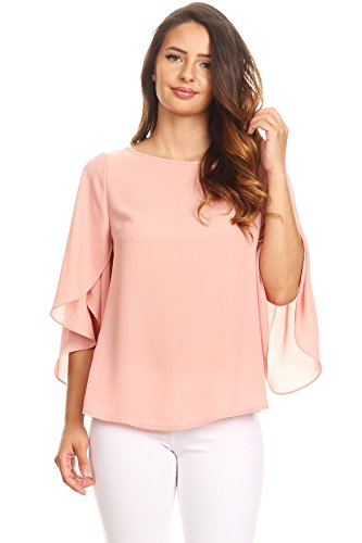 Via Jay Relaxed Comfy Fit 3/4 Open Flutter Sleeve Blouse TOP (X-Large, New Mauve)