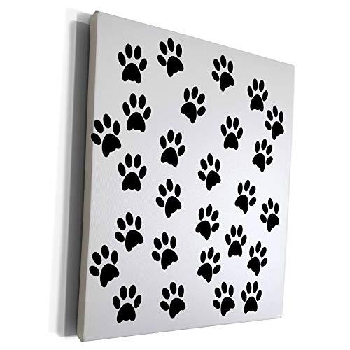 3dRose Sandy Mertens Dog Designs - Dog or Cat Pet Paw Prints Black Silhouette Pattern, 3drsmm - Museum Grade Canvas Wrap (cw_295168_1)