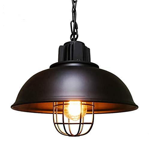 Riomasee Industrial Pendant Lighting,Vintage Cage Black Metal Hanging Lamp,Farmhouse Lighting,Kitchen Lighting,Hanging Light Fixture