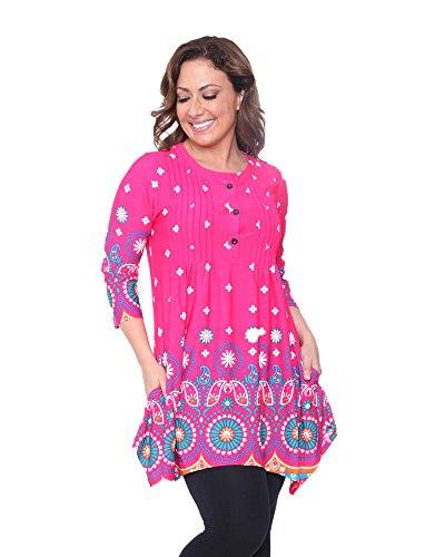 White Mark Lucy Mandala Print Tunic Top in Pink - 2XL from White Mark
