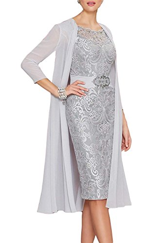 (Newdeve Chiffon Mother of The Bride Dresses Tea Length Two Pieces with Jacket Grey )