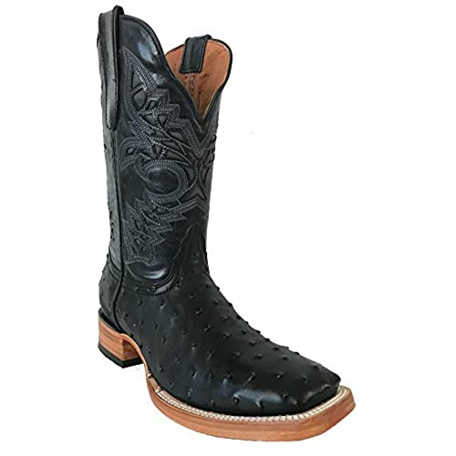 Men's New Leather Ostrich Quill Design Cowboy Western Boots Square Black
