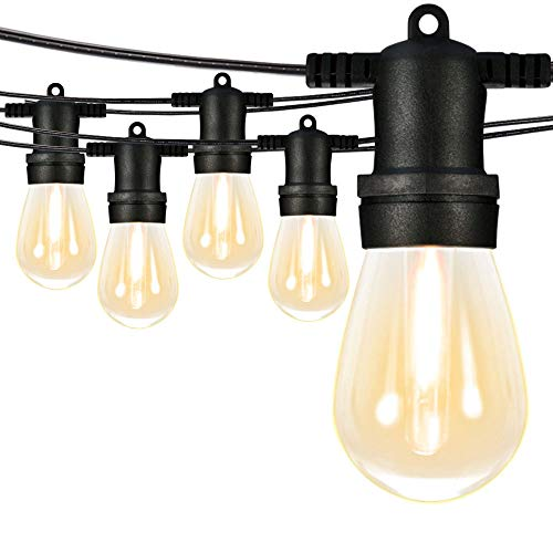 SUNTHIN 96Ft LED Outdoor String Lights S14 Black Hanging Loops with 32 Sockets and 33 Shatterproof LED Bulbs Included 1 Spare Plastic Bulbs 2700K ETL Approved for Patio Porches Bistro (String Lights G50 Led)