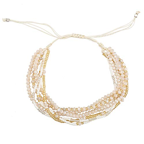 TOMLEE Multilayers Hand-Woven White Beaded Chain Wrap Bracelet Adjustable Handmade String Braided Stretch Knot Crystal Beads Bracelets (D: White Beads)