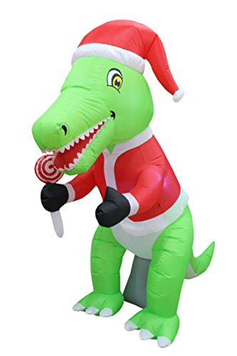 (6 Foot Tall Christmas Inflatable Green Dinosaur with Christmas Hat and Lollipop LED Lights Decor Outdoor Indoor Holiday Decorations, Blow up Lighted Yard Decor, Lawn Inflatables Home Family Outside)