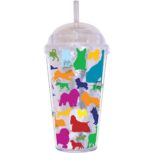 LittleGifts Rainbow Dogs 18-Ounce Dome Etched Cup