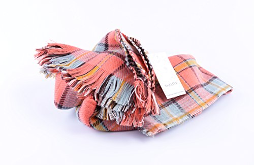 Women's Cozy Tartan Scarf Wrap Shawl Neck Stole Warm Plaid Checked Pashmina (Orang) by Neal LINK (Image #2)