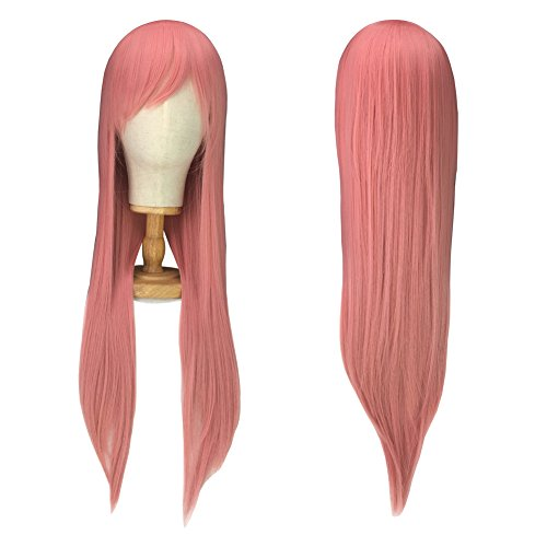 Halloween Costume Wigs for Women, Pink Cosplay Wig for Girls, Long Straight Pink Hair Wig Anime Party + Free Wig Cap