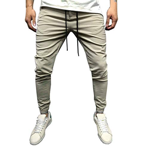 Pants for Men, Clearance Sale! Pervobs Men Fashion Casual Solid Drawstring Stretch Jogger Slacks Pants Sweatpants(M, ()