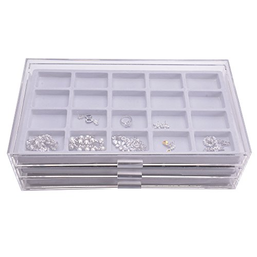 Ikee Design Acrylic 3 Drawers Jewelry Organizer Display Chest with