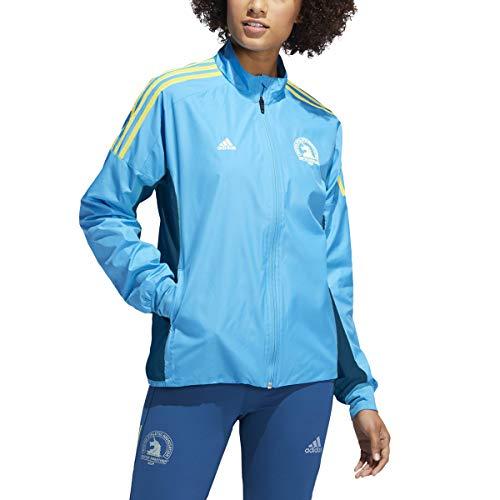 adidas Women's 2019 Boston Marathon Celebration Jacket (Large, Shock Cyan)