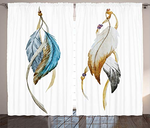 "Ambesonne Ethnic Curtains, Eastern Feathers Animism and Ceremonial Local Artwork Print, Living Room Bedroom Window Drapes 2 Panel Set, 108"" X 90"", Sea Blue"