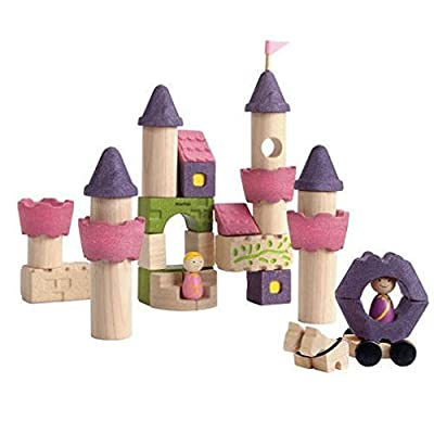PlanToys Wooden 35 Piece Fairy Tale Building Block Set (5650) | Sustainably Made from Rubberwood and Non-Toxic Paints and Dyes: Toys & Games