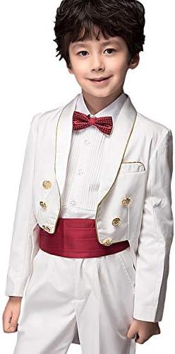 ボーイズテールコートスーツショールラペル装飾ボタンタキシード2ピースジャケットパンツ