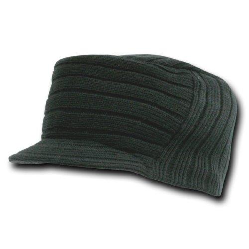 Decky Knit Visor Beanie (Decky Flat Top Knit Visor Beanie Jeep Cap (One Size, Black))