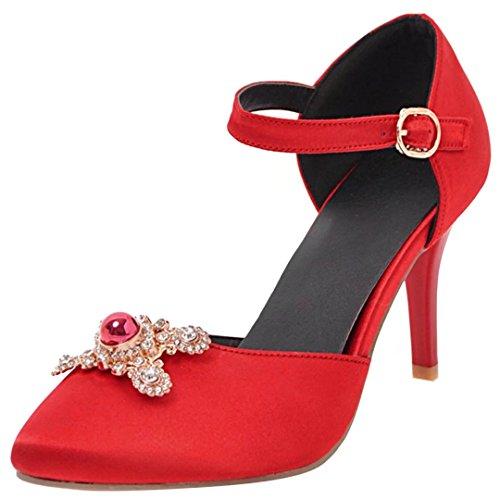 68c91503d4ba3d AIYOUMEI Damen Spitze Satin High Heels Pumps mit Knöchelriemchen und Strass  Party Hochzeit Schuhe Rot