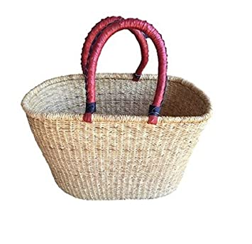Natural Oval Shopper Basket Bolga Ghana Basket Dye Free fair Trade African Basket Large 16 -19