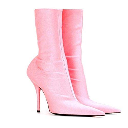 Otoño calf Mujer Mid Fiesta Toe De Y Antideslizante Invierno Punta Pink Cortas Stiletto Cymiu La Tacón Señoras Alto Fina Botas Calcetines 0Pwgq