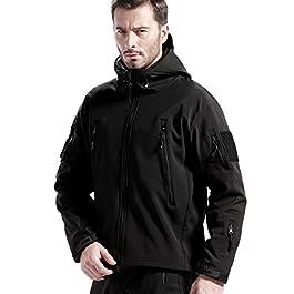 FREE SOLDIER Men's Jackets Outdoor Waterproof Softshell Hooded Tactical Jacket