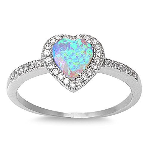 Sterling Silver White Created Opal Micro Pave Halo Heart Ring - Size 8 -