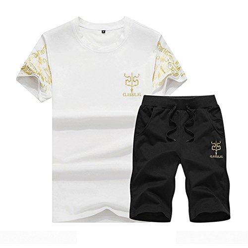 Mens Summer Pullover Tracksuit Jog Set 2 Pieces T-shirt & Pants White L