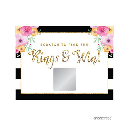 (Andaz Press Floral Gold Glitter Print Wedding Collection, Bridal Shower Game Scratch Cards, 30-Pack )
