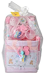 Big Oshi Diaper Bag Baby Gift Set, 16 Piece - Filled With Everything You Need For Baby On The Go - Sandwich Box Included - Pink