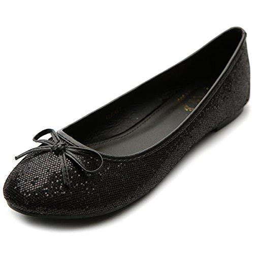 Ollio Womens Ballet Chaussure Bout Rond Paillettes Confort Multi Couleur Plat Noir
