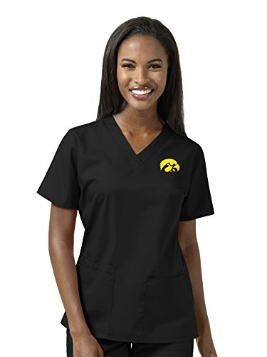 WonderWork Collegiate by Women's V-Neck Black Solid Scrub Top X-Large University of Iowa Hawks (Hawk V-neck)