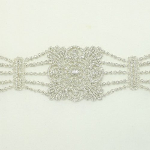 Silver Metallic Lace trim by the yard - Bridal wedding Lace Trim embroidery trim wedding fabric Millinery accent motif scrapbooking crafts lace for baby headband hair accessories dress bridal accessories by Annielov trim #131 ()