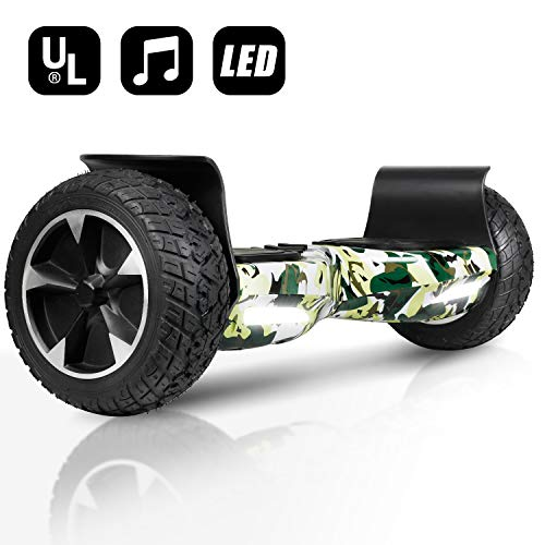 EPCTEK Hoverboard for Adult, 8.5 inch Self Balancing Off Road Hoverboard with Bluetooth Speaker and LED Lights – UL2272 Certified All Terrain Hoverboards