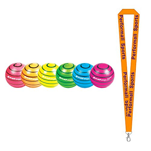 Champion Sports Rhino Skin Ball Set Assorted (Set of 6) with 1 Performall Lanyard RS63NSET-1P by Performall Sports Dodgeballs