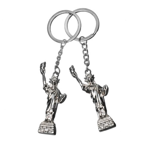 (2x 3D New York Statue of Liberty Metal Keychain NY Gift Key Ring - Set of 2)