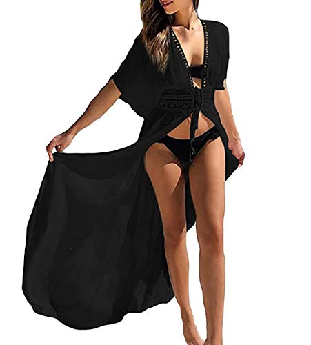 MeiLing Women's Sexy Bikini Swimsuit Bathing Suit Cover Ups Swimwear Beach Dress Long Kimono Jacket Cardigan Robe (Black -