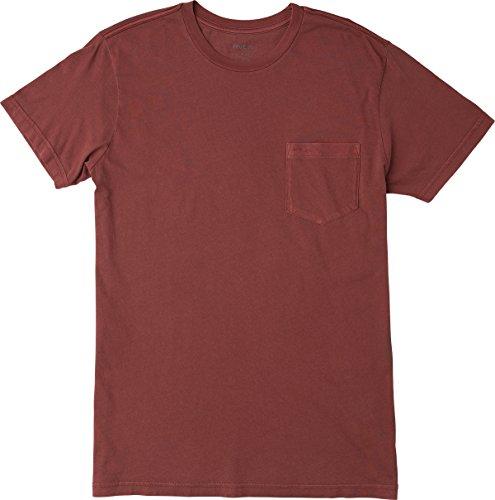 RVCA Men's PTC 2 Pigment Shirt, Bordeaux, (Pigment Dyed Cotton Pocket Tee)