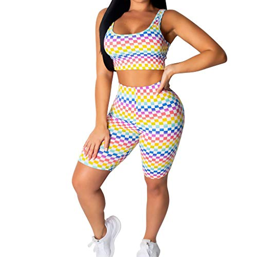 Womens Sexy Two Piece Jumpsuit Tracksuit Top + High Waist Outfits(Multicolor,XL) ()