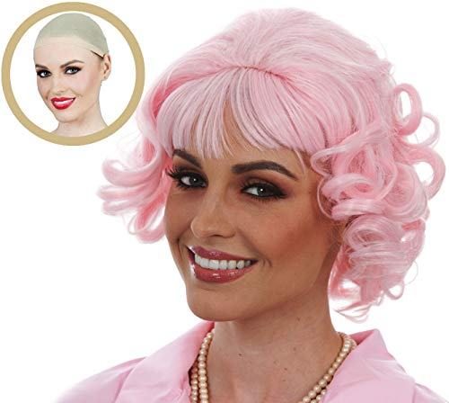ALLAURA 2Pc Pink Frenchie Wig Grease Costume for Ladies - Short Pink Curly Wigs for Women