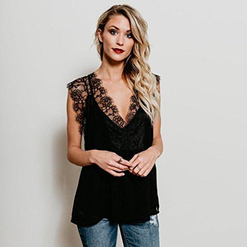 Gilet Tops T Dentelle Noir V Shirt Cou AIMEE7 Femmes Creuse sans Blouse Manches q6ZZUx