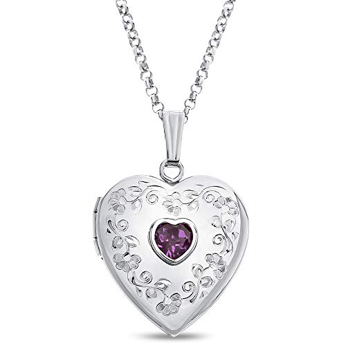 Finejewelers Sterling Silver Heart Locket Pendant Necklace with Genuine Amethyst February Birthstone