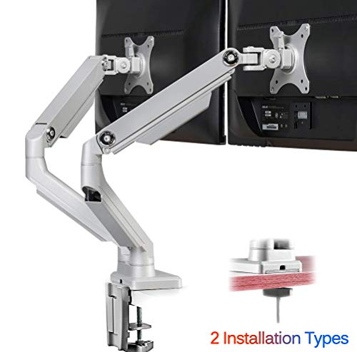 IMtKotW Dual Arm Monitor Stand - Height Adjustable Full Motion Mechanical Spring Monitor Desk Mount with C Clamp/Grommet Base Fits 17